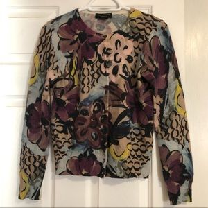 Lord and Taylor Floral Print Cashmere Cardigan